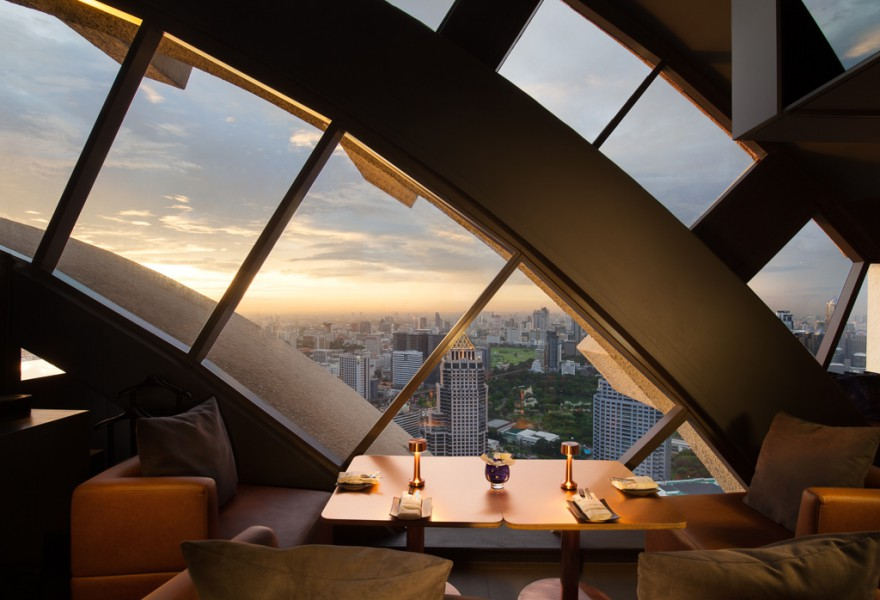 Vertigo bar at the Banyan Tree Bangkok, a luxury hotel in Bangkok, Thailand. Hotel photography by Peter Jackson Photographer.