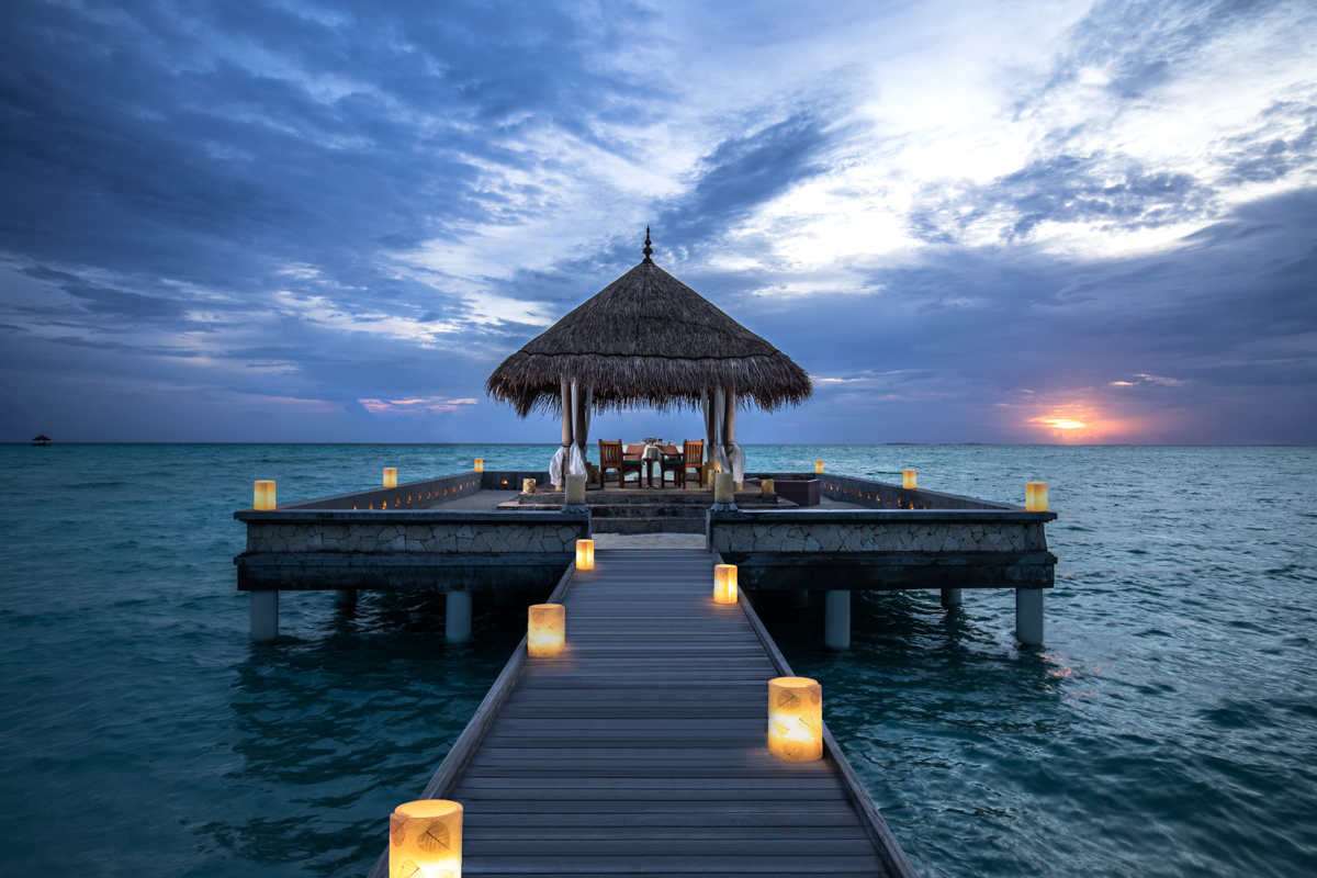 Wedding Pavilion overlooking the Indian Ocean at Taj Exotica Resort & Spa, a luxury resort in the Maldives. Hotel photography by Peter Jackson Photographer.